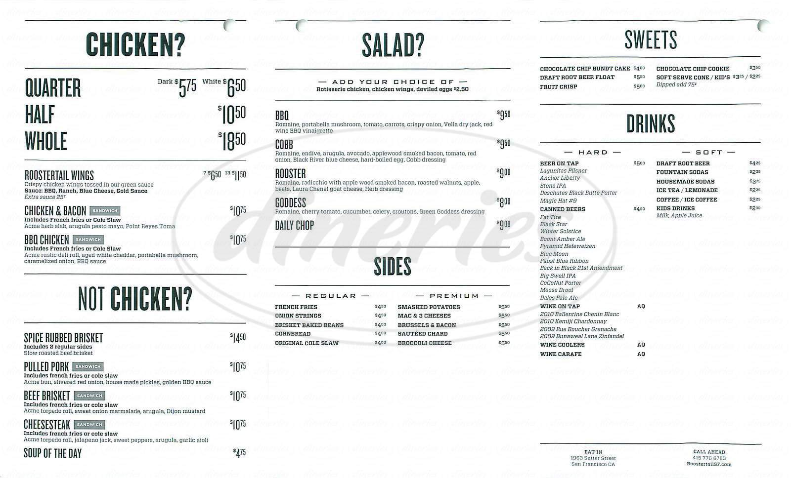 menu for Roostertail