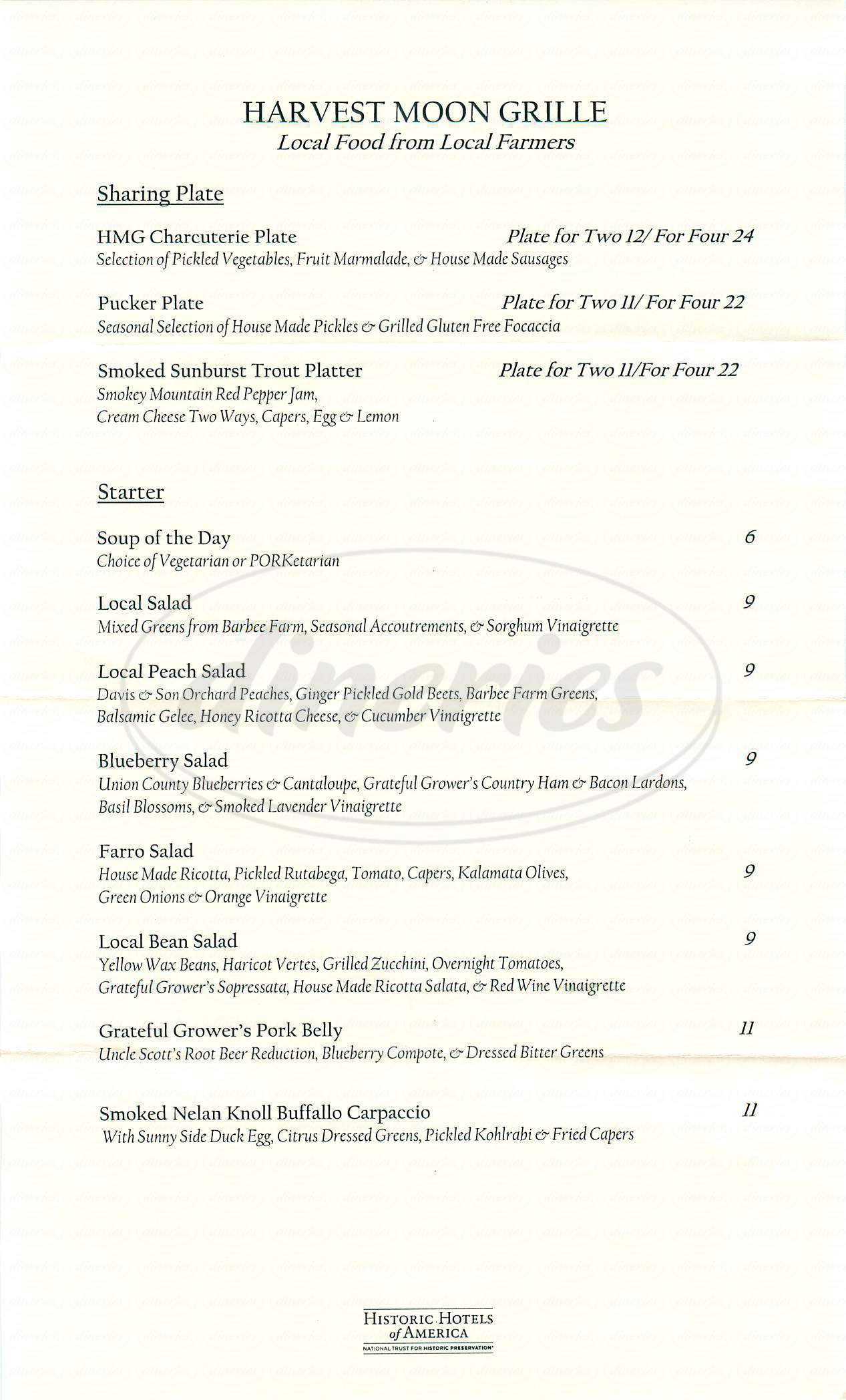 menu for Harvest Moon Grille