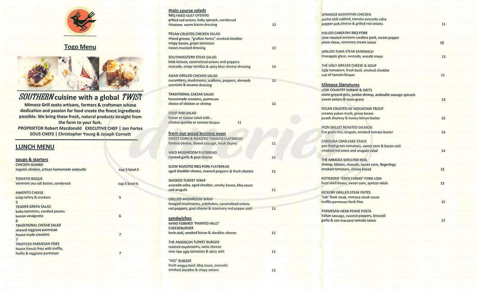 menu for Mimosa Grill