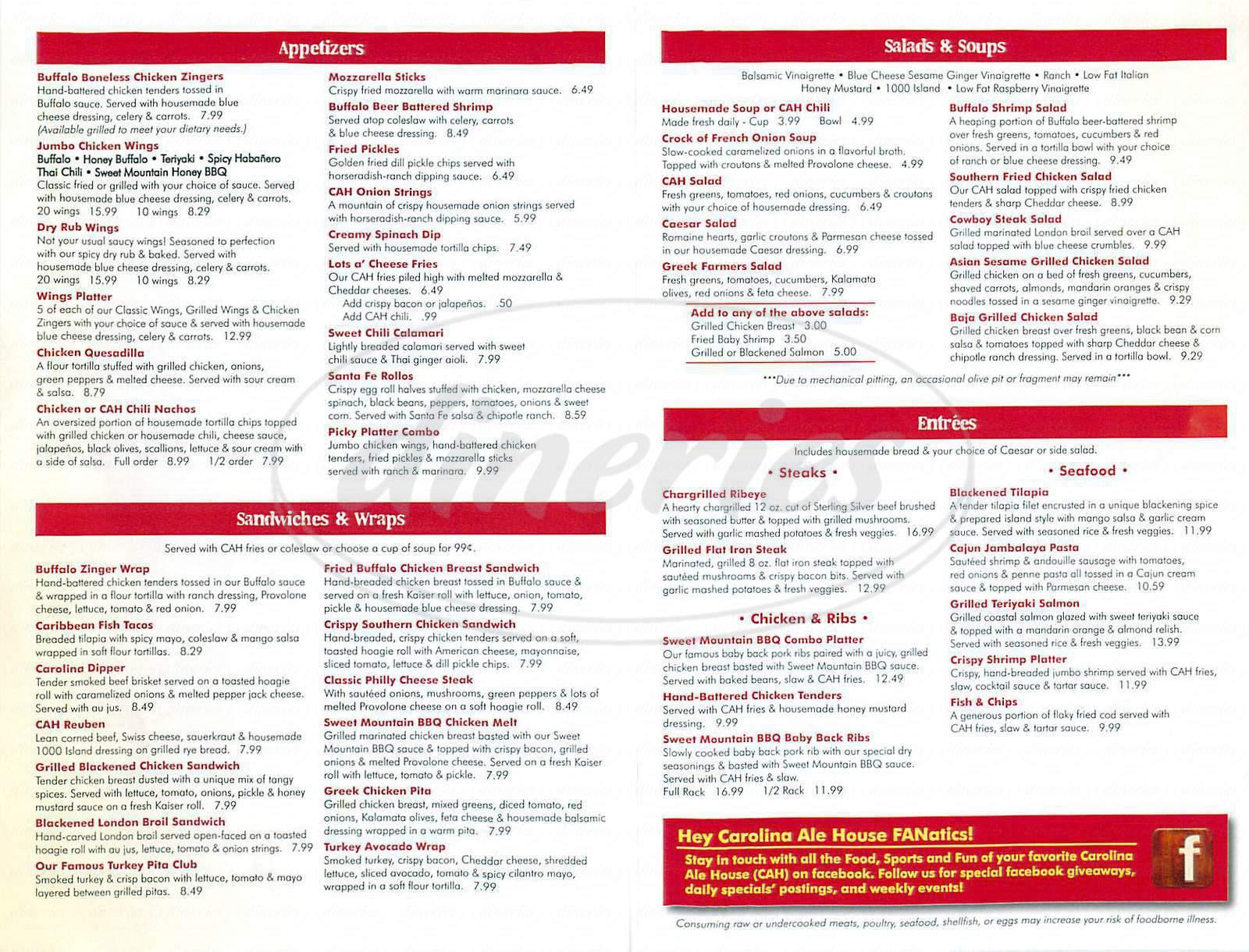 menu for Carolina Ale House
