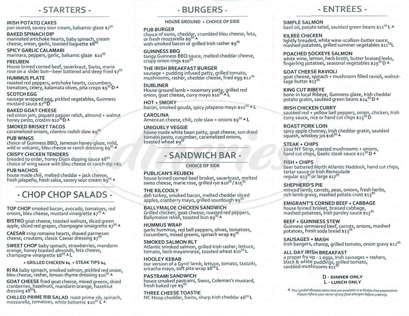 menu for Rí Rá Irish Pub