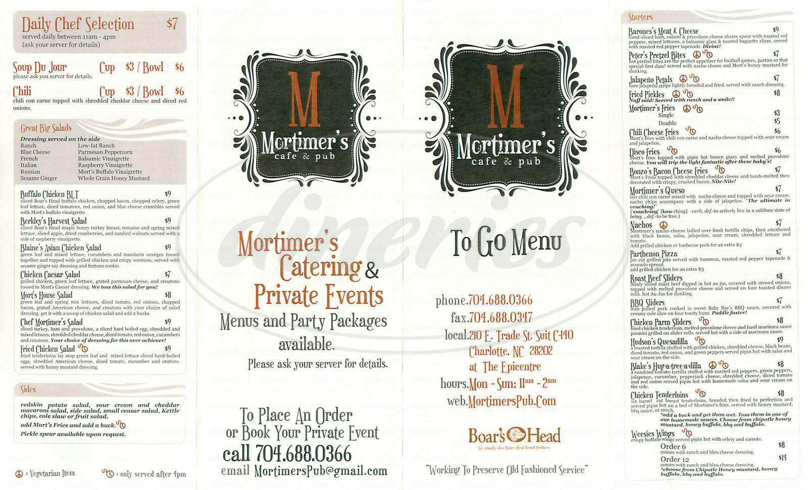 menu for Mortimer's Cafe and Pub