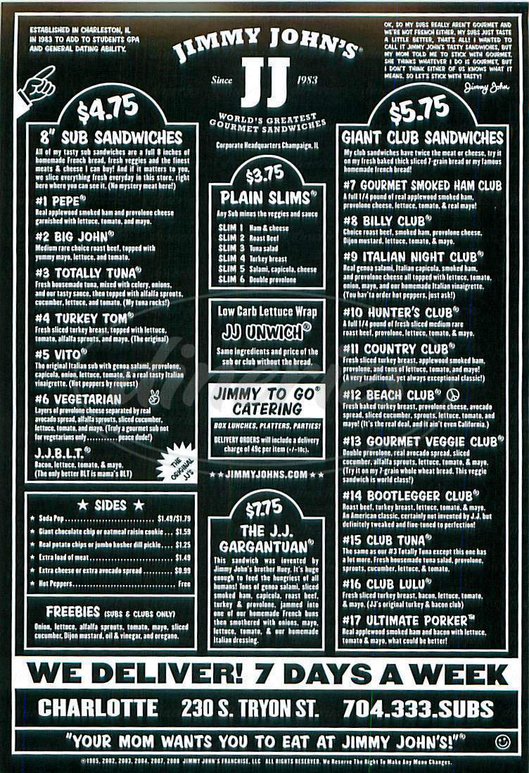 menu for Jimmy John's