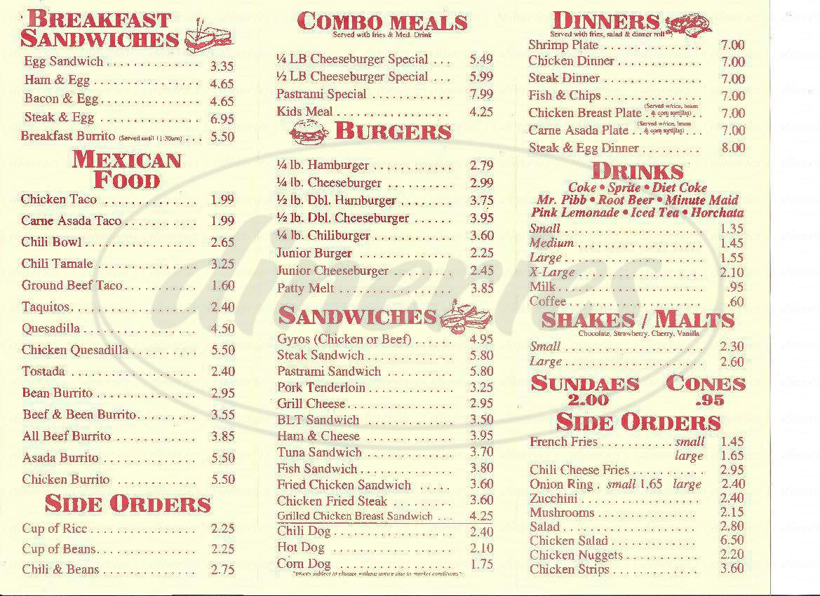 menu for Troy's Burgers
