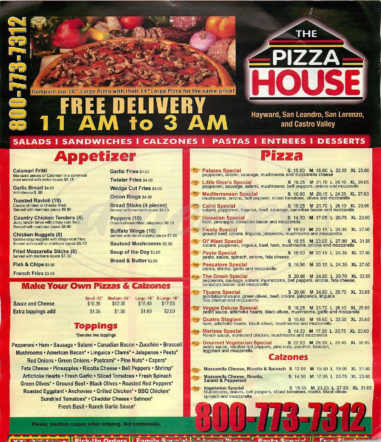 menu for The Pizza House
