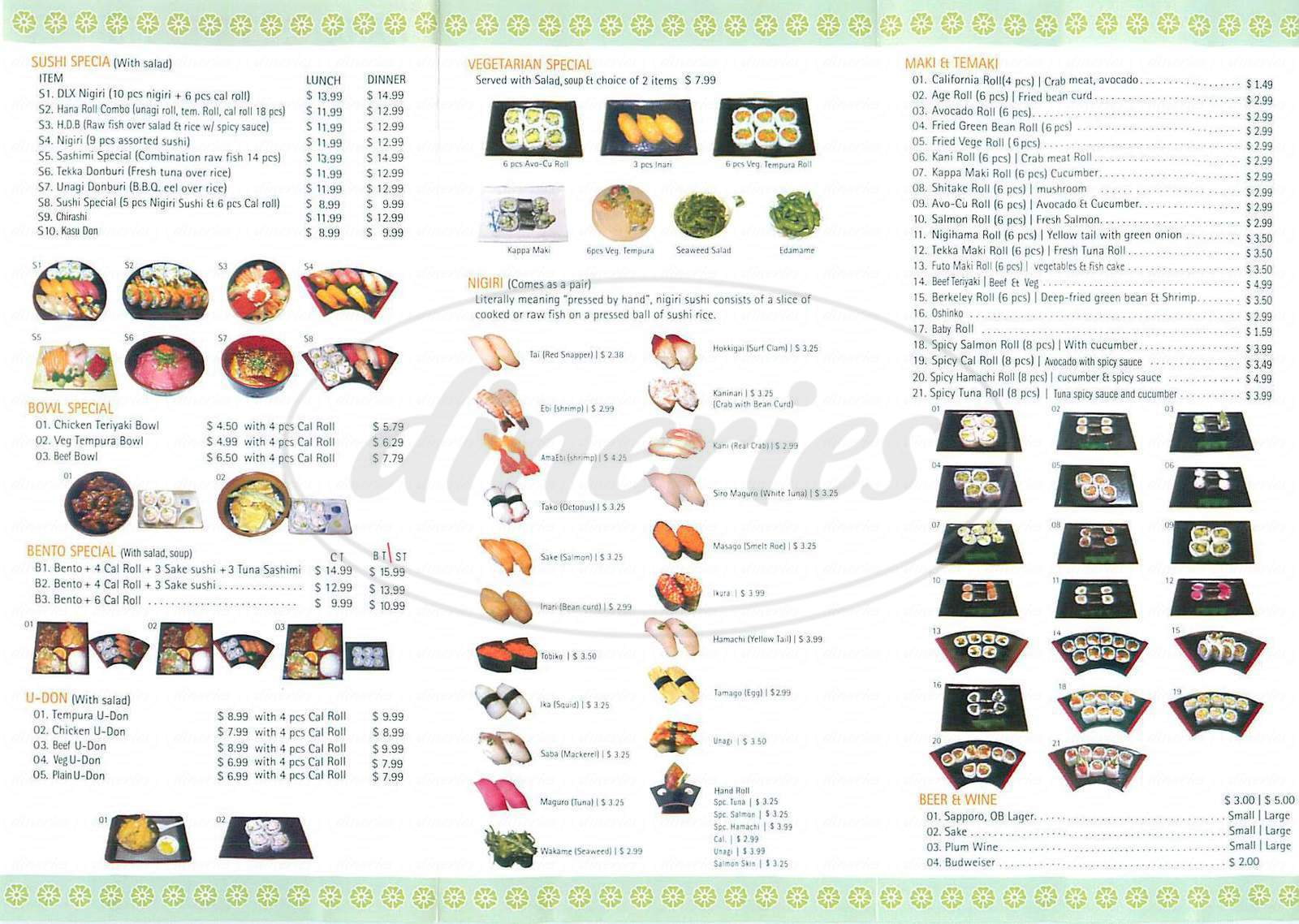 menu for Hana Maki Sushi