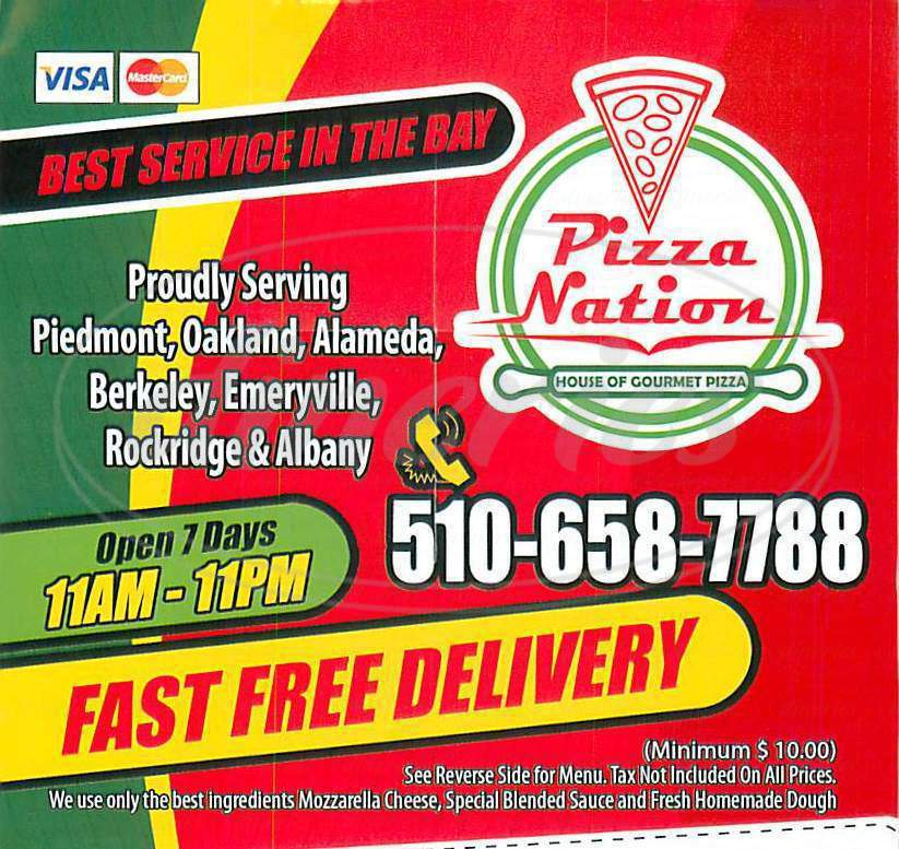 menu for Pizza Nation