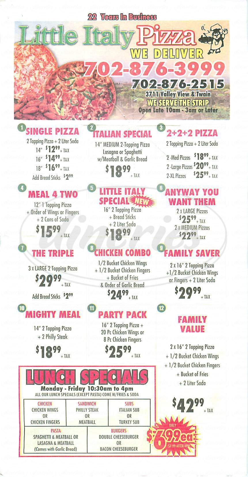 menu for Little Italy Pizza