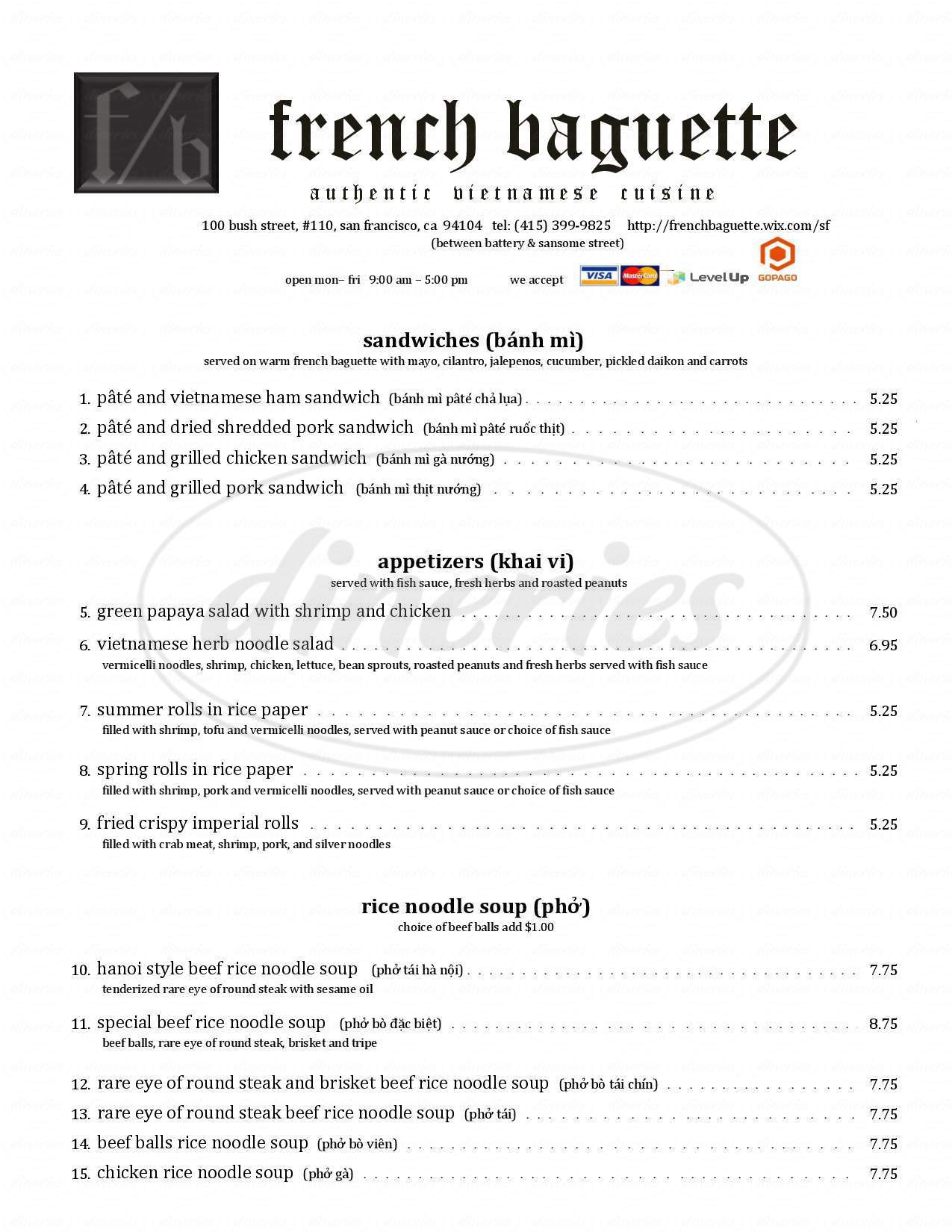 menu for French Baguette