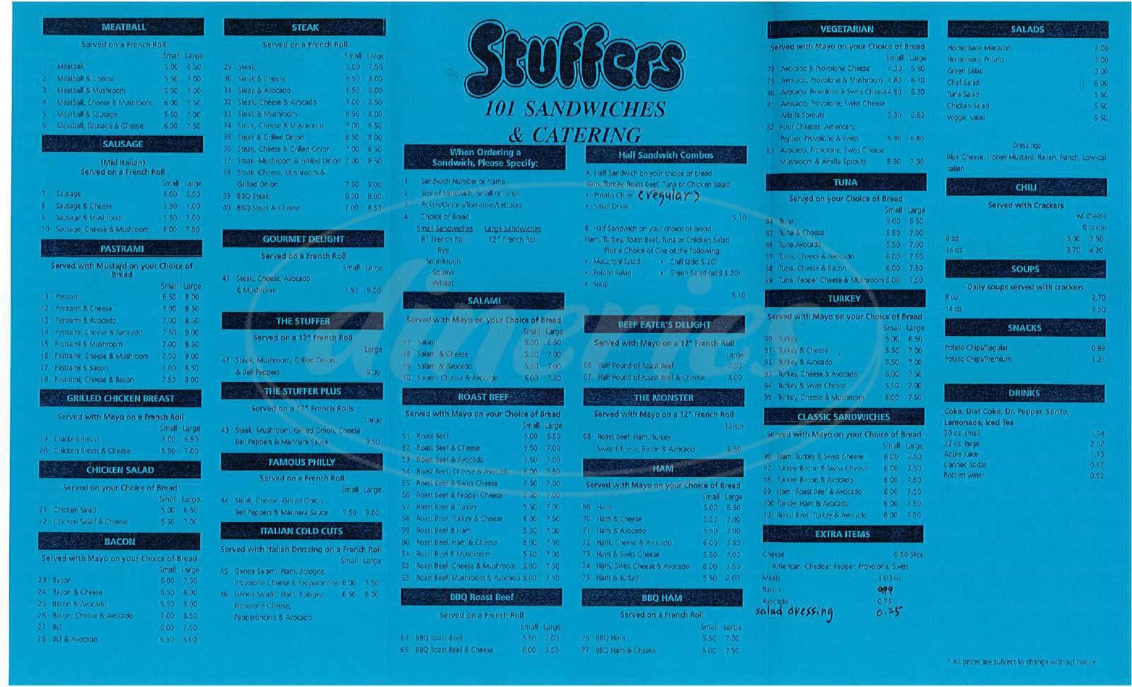 menu for Stuffers