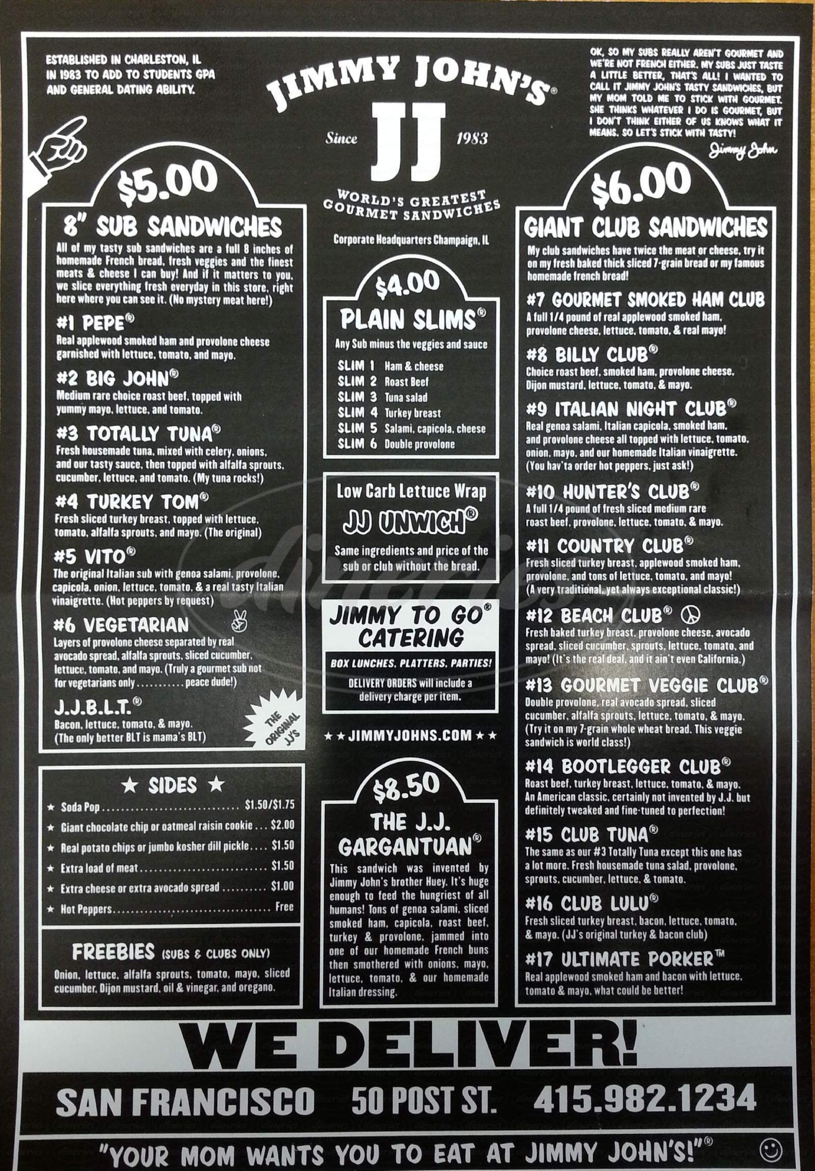 menu for Jimmy John's