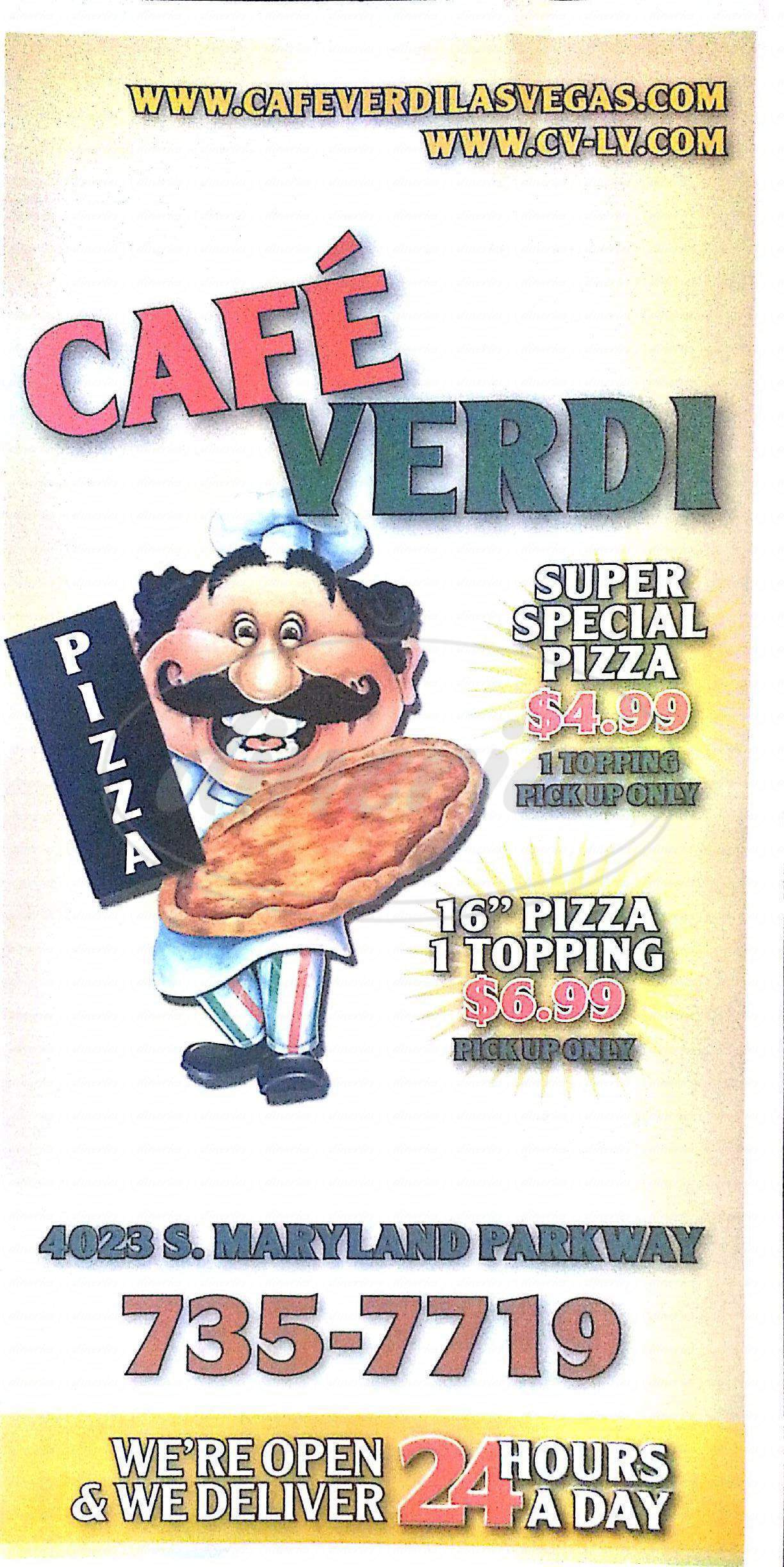 menu for Cafe Verdi