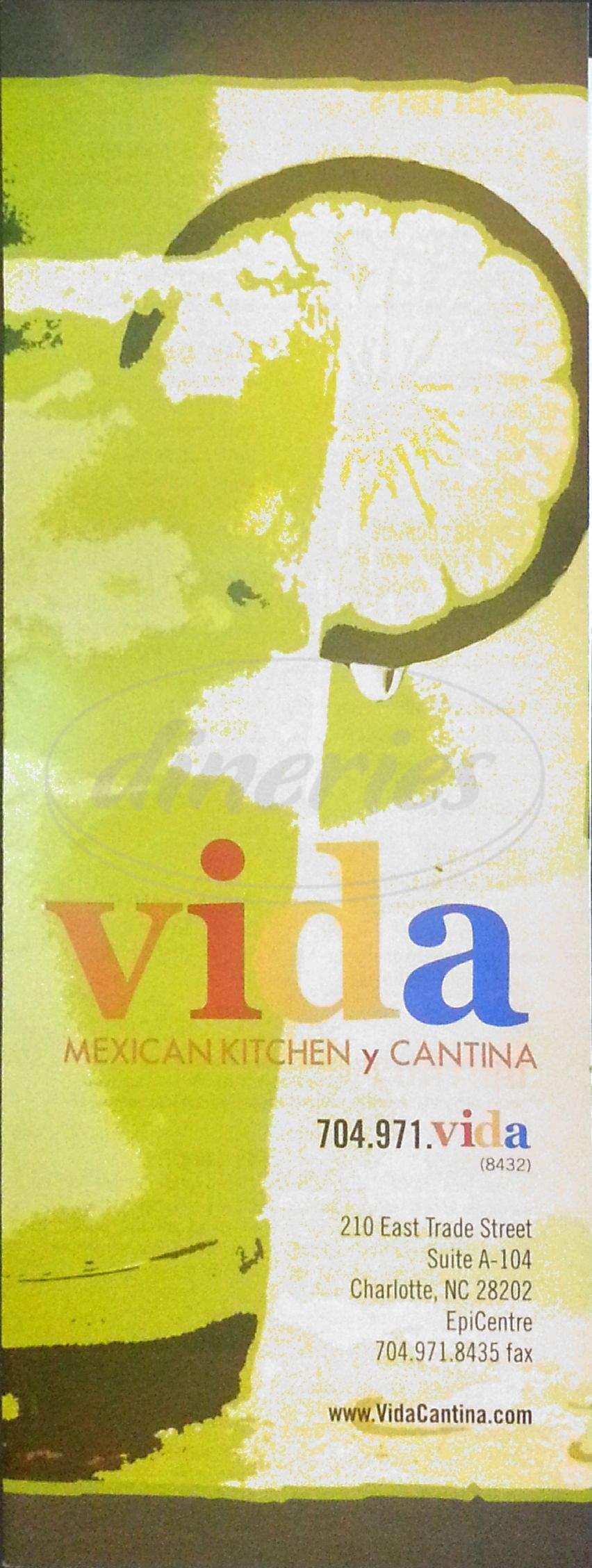 menu for Vida