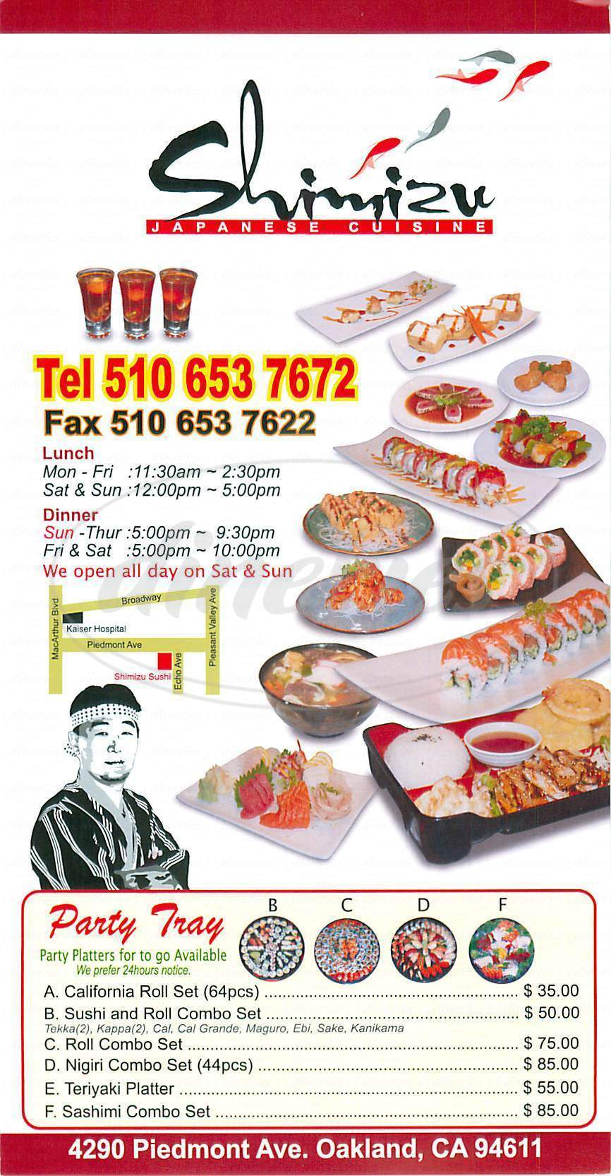 menu for Shimizu Sushi