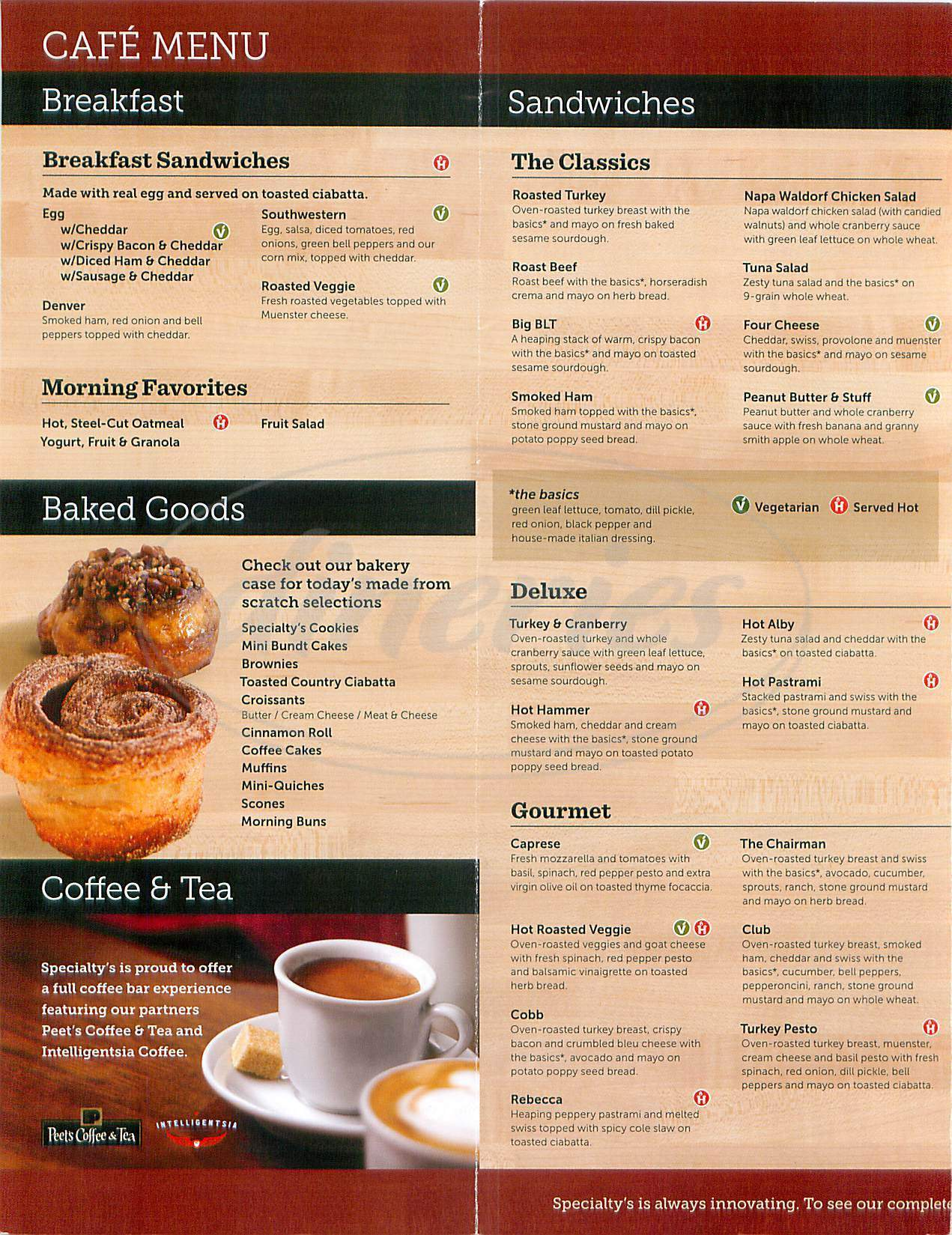 menu for Specialty's Café & Bakery
