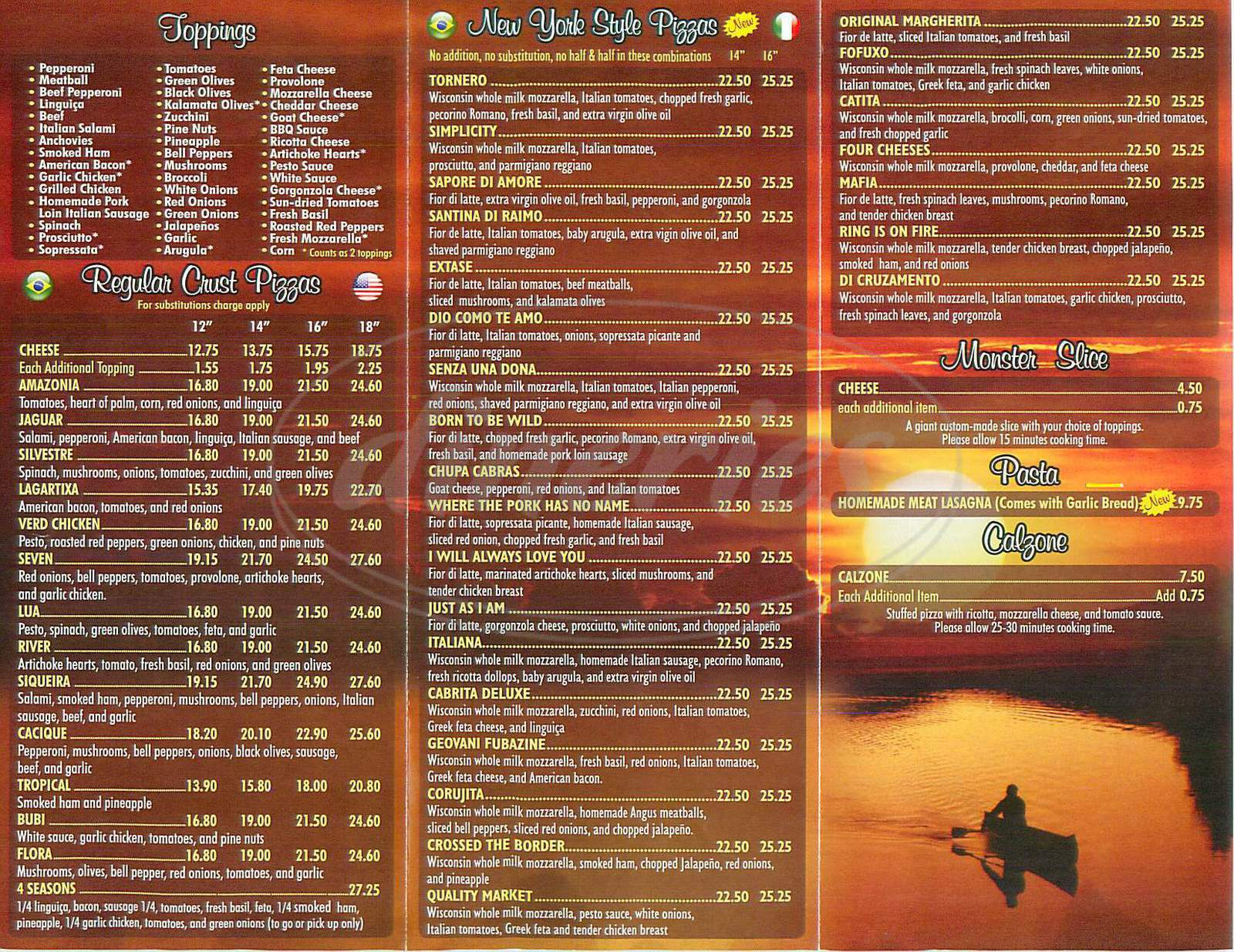 menu for Amazonas Pizza