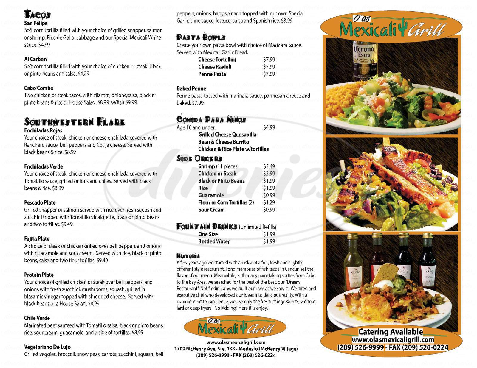 menu for Mexicali Grill
