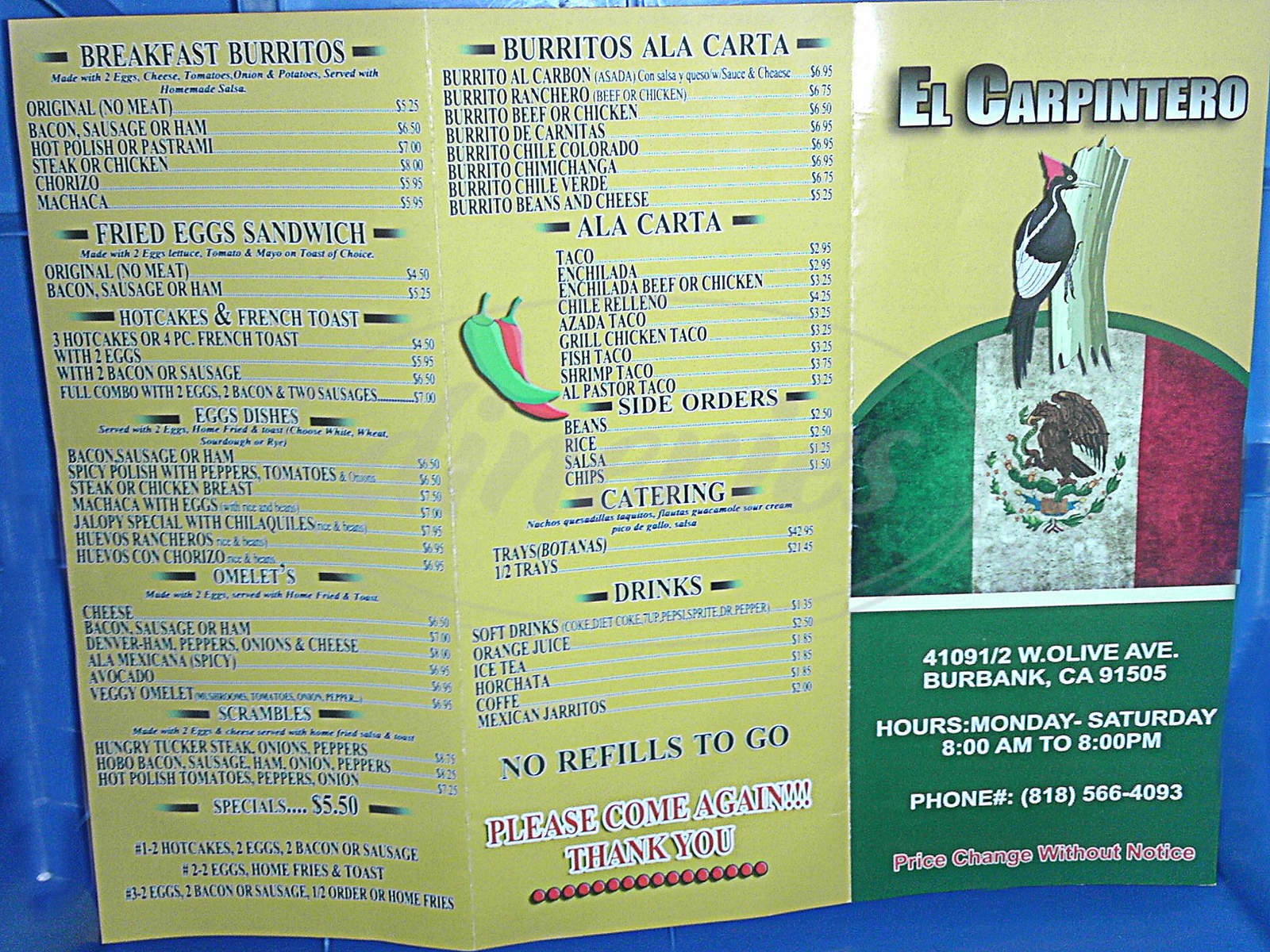 menu for El Carpintero Restaurant