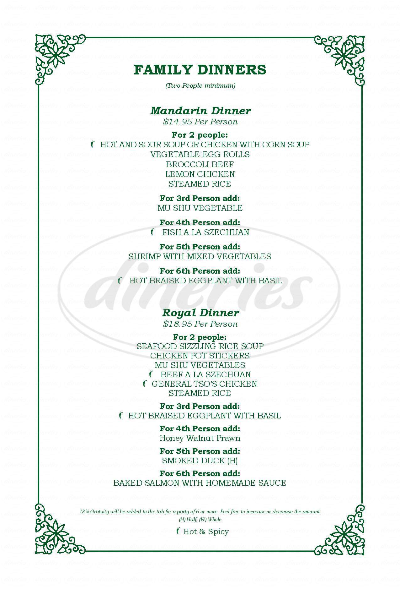 menu for Mandarin Restaurant