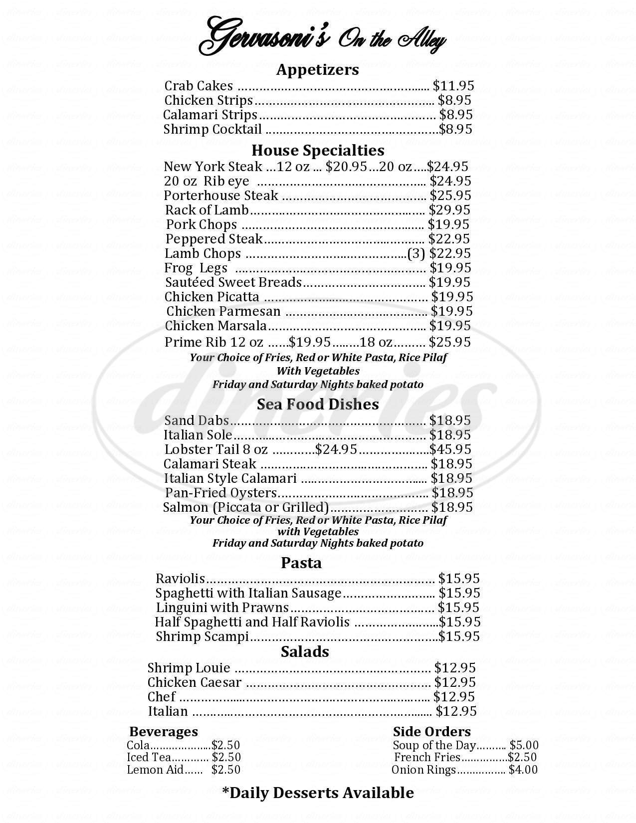 menu for Gervasoni's