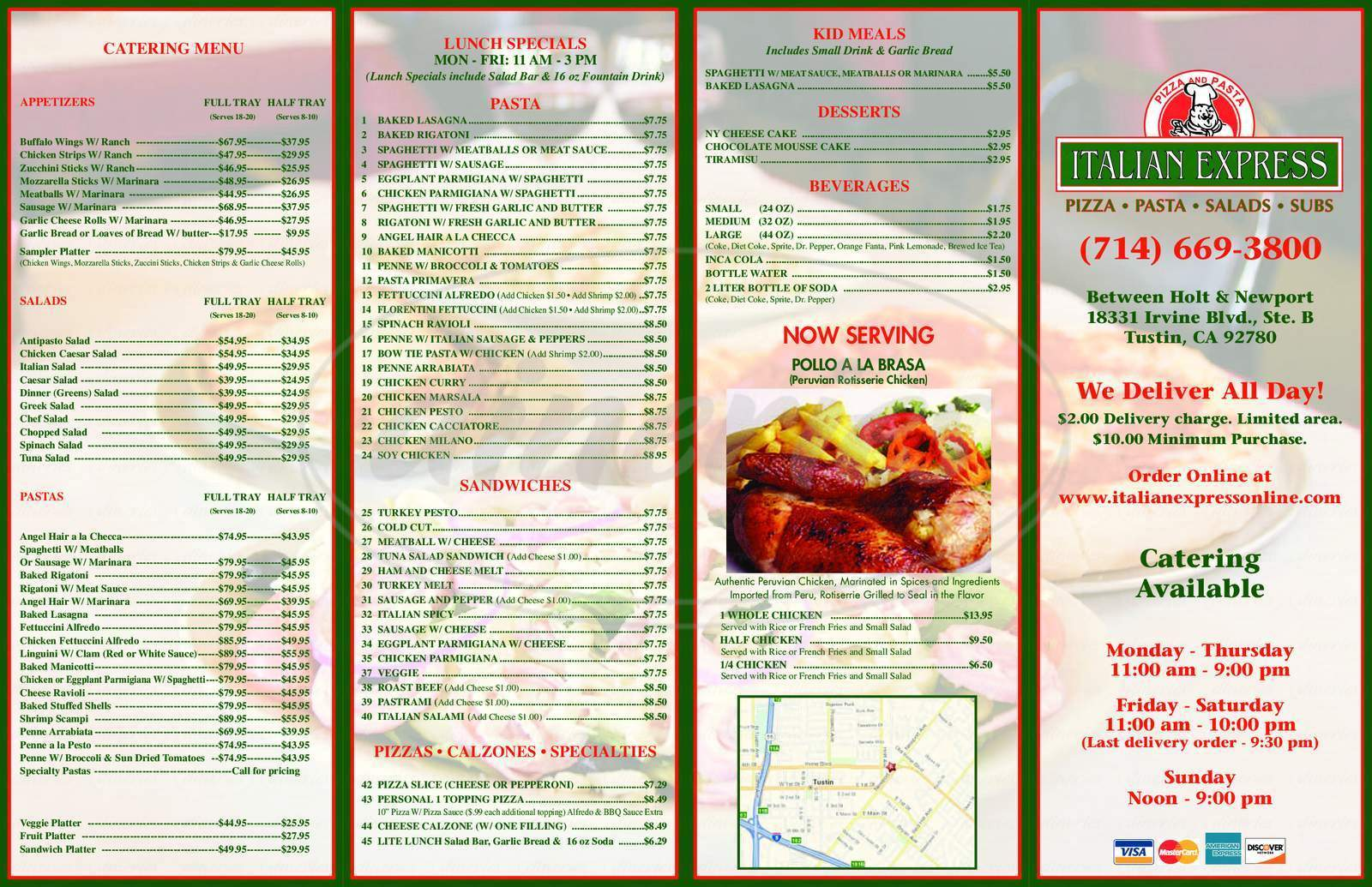 menu for Italian Express