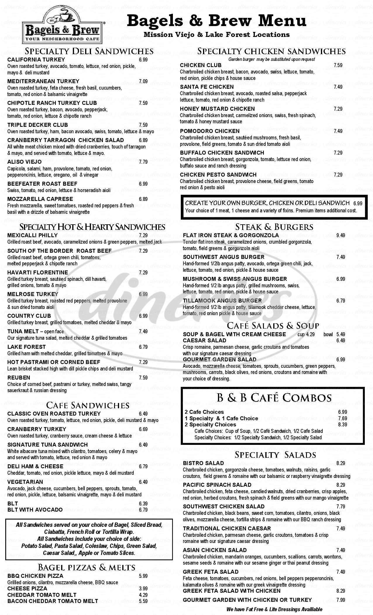 menu for Bagels & Brew
