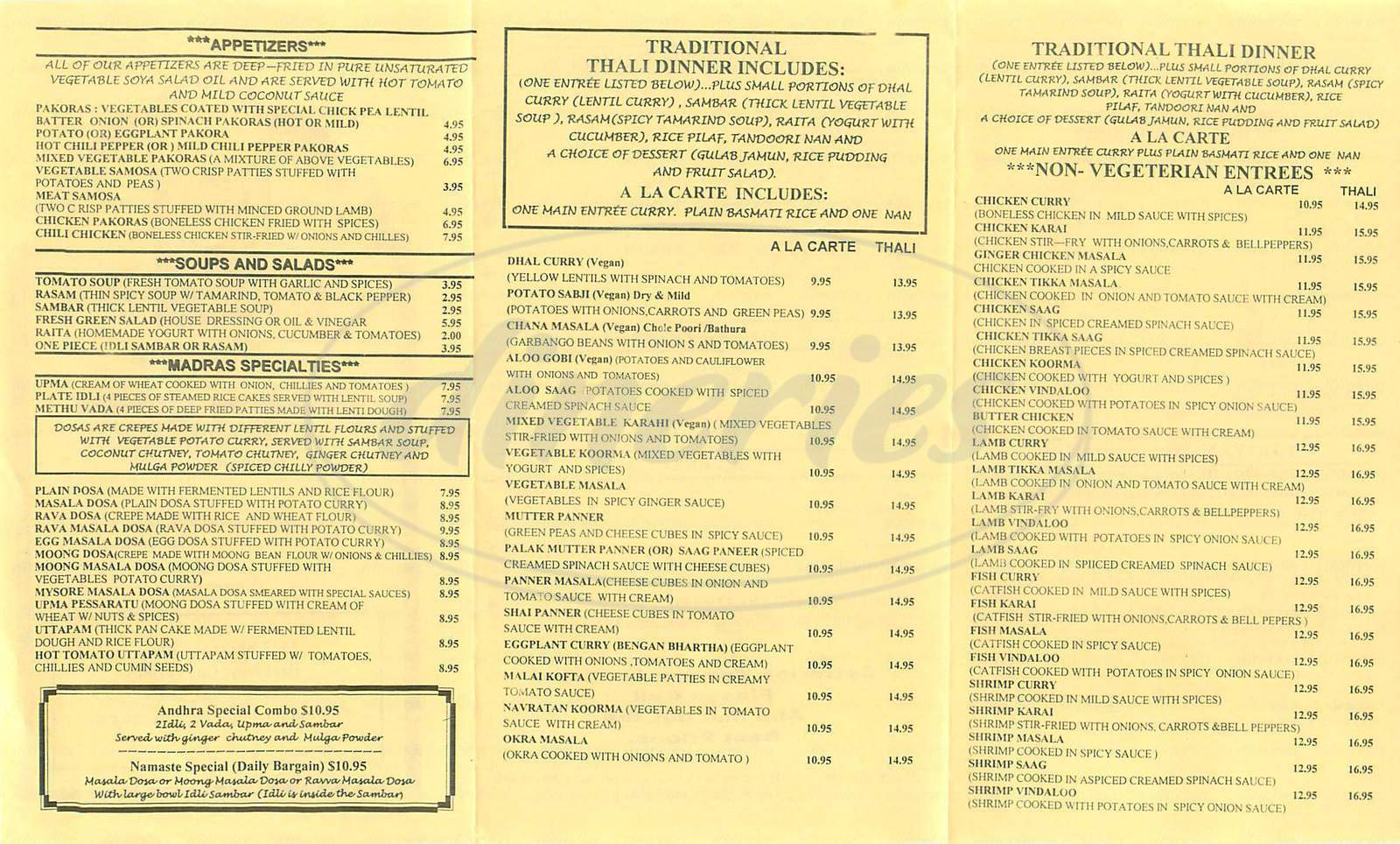 menu for Namaste Madras Cuisine