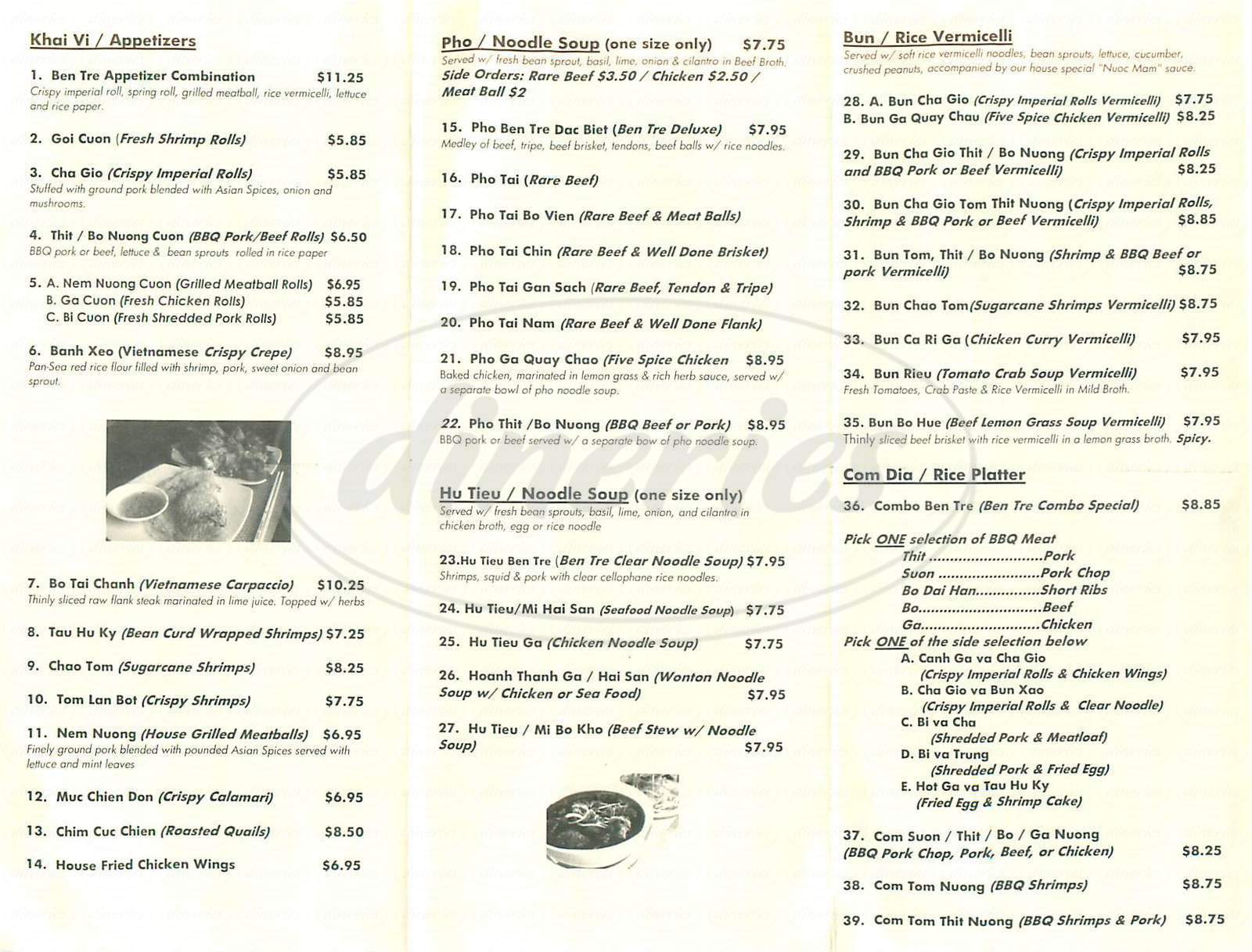 menu for Ben Tre Vietnamese Homestyle Cuisine