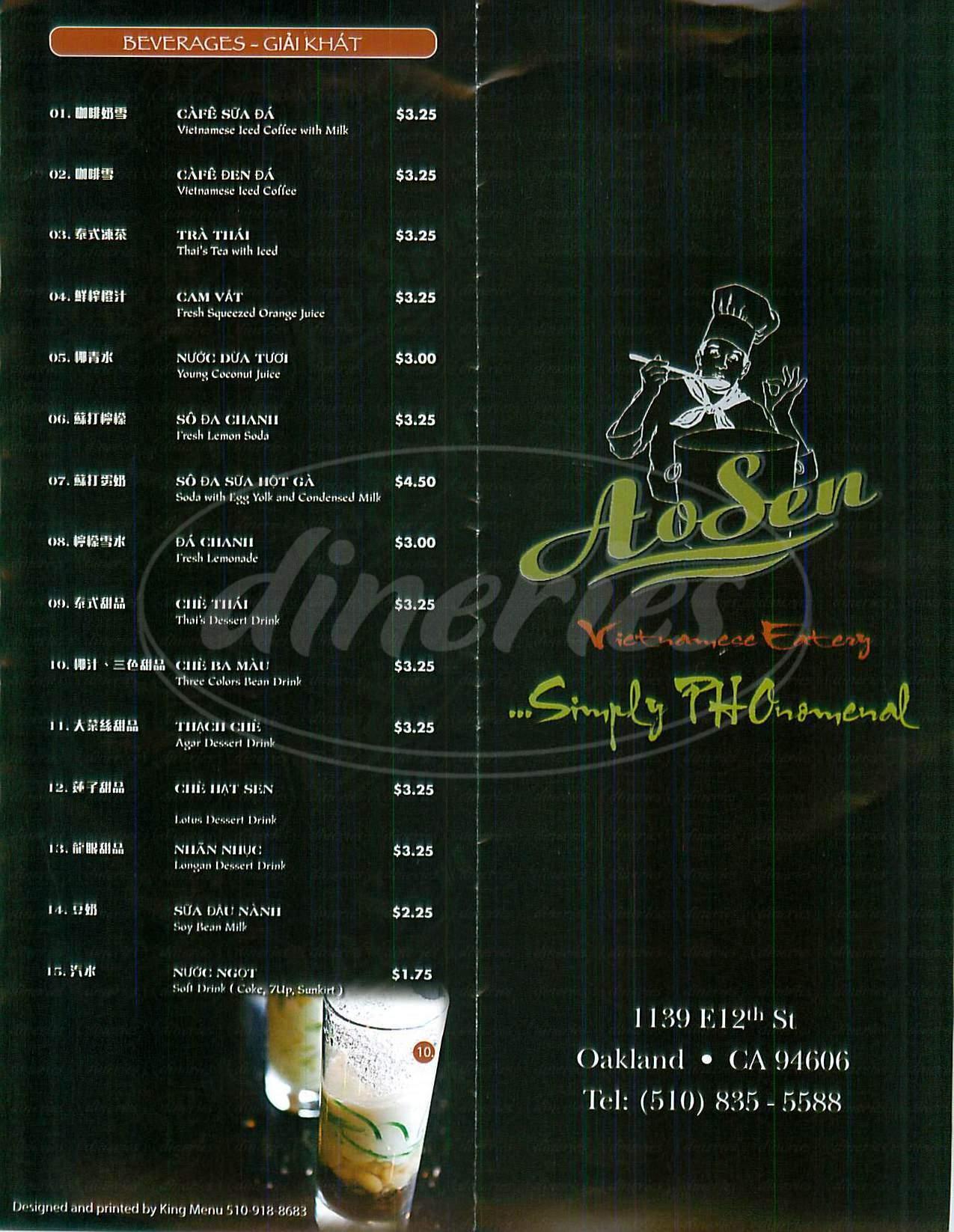 menu for Pho Ao Sen