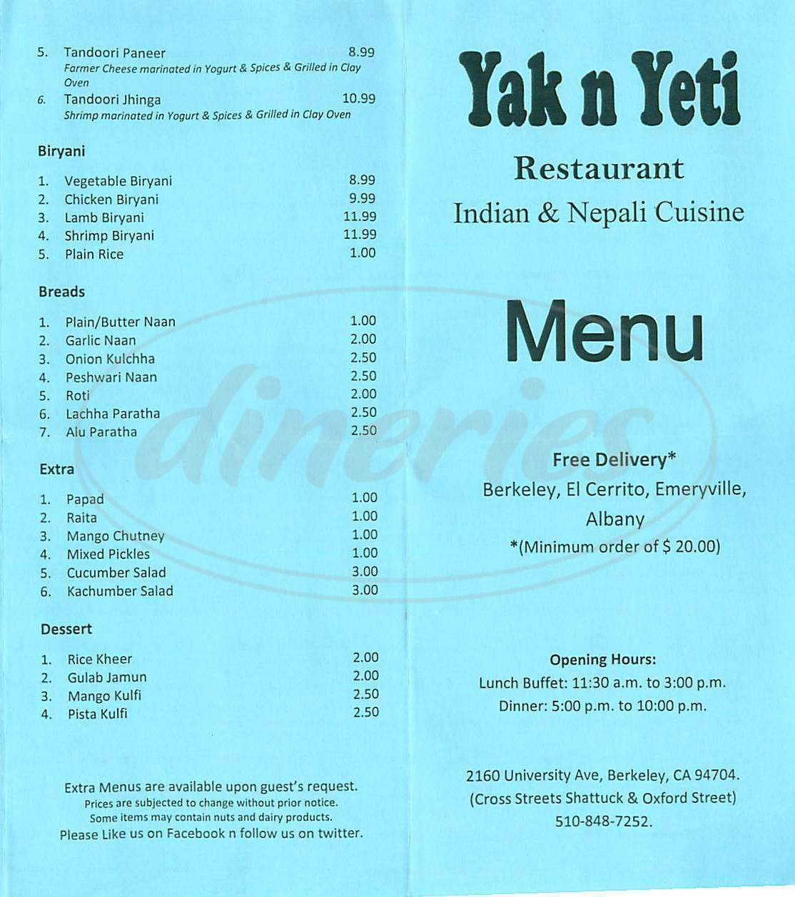menu for Yak n Yeti