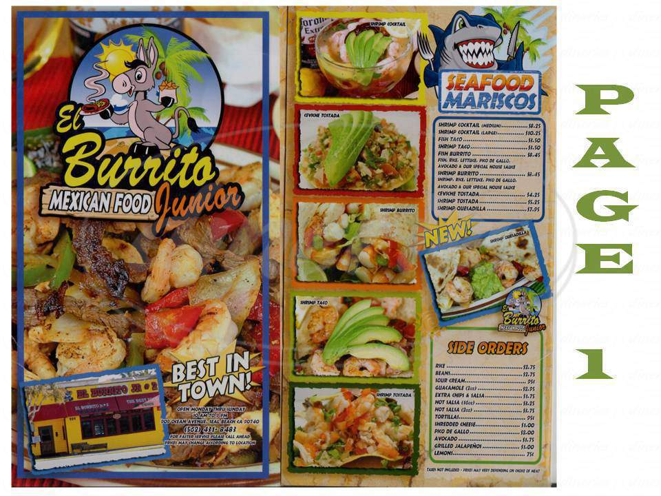 menu for El Burrito Jr