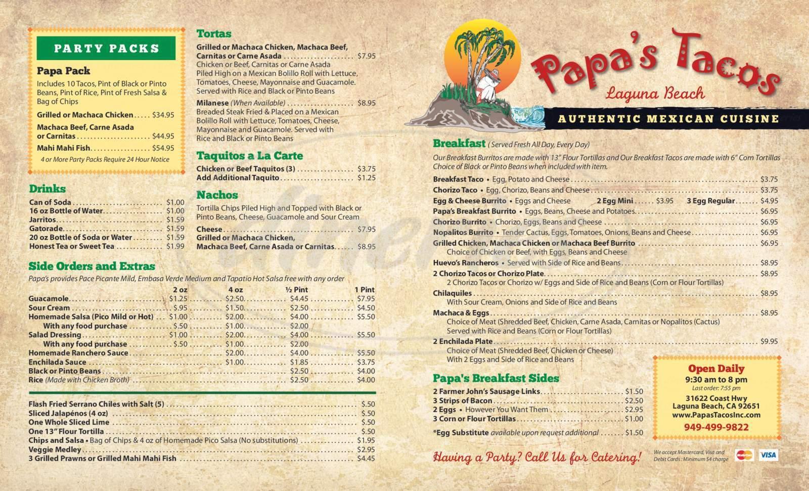 menu for Papa's Tacos