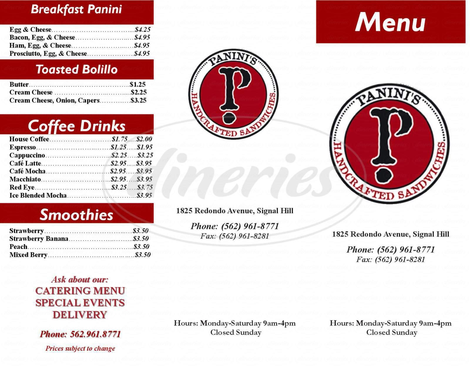 menu for Panini's
