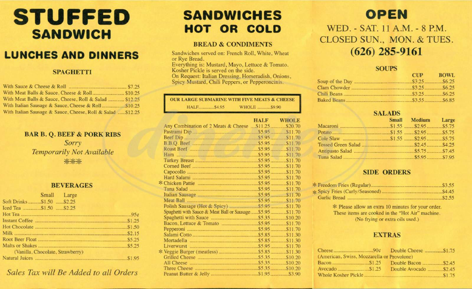 menu for Stuffed Sandwich