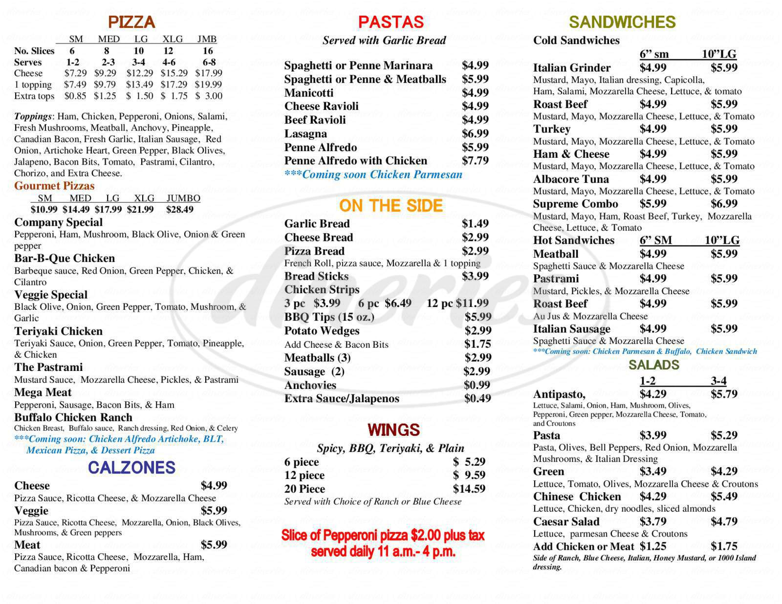 menu for Duarte Pizza Company