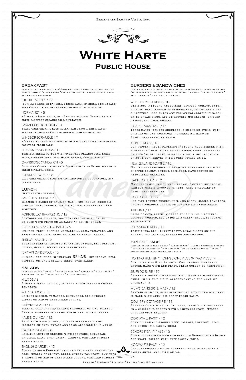 menu for The White Harte Pub