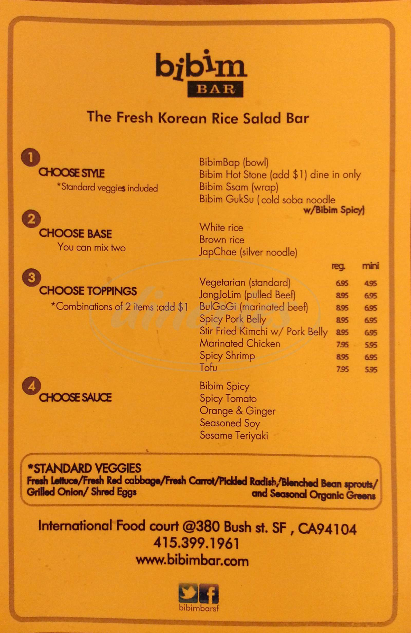 menu for Bibim Bar