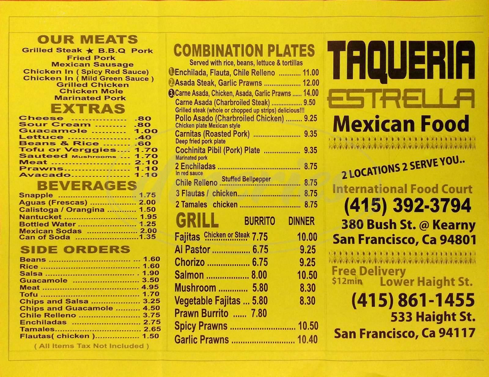 menu for Taqueria Estrella