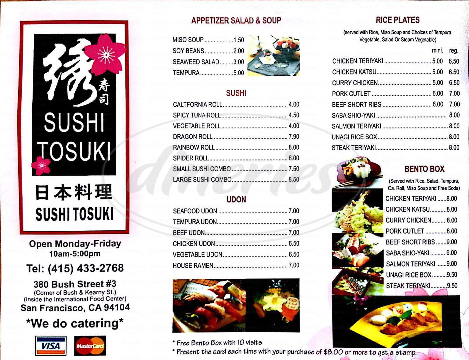 menu for Sushi Tosuku