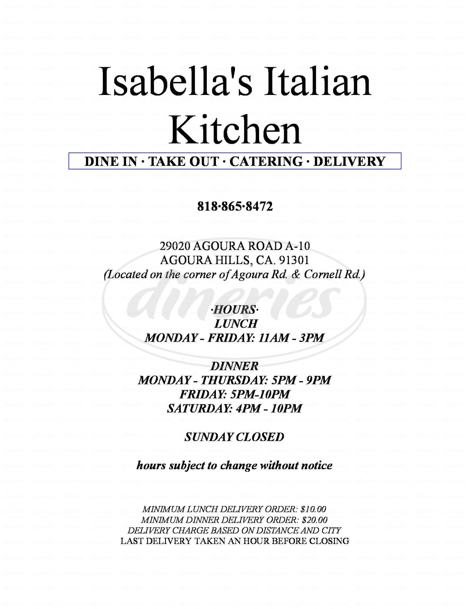 menu for Isabella's Italian Kitchen