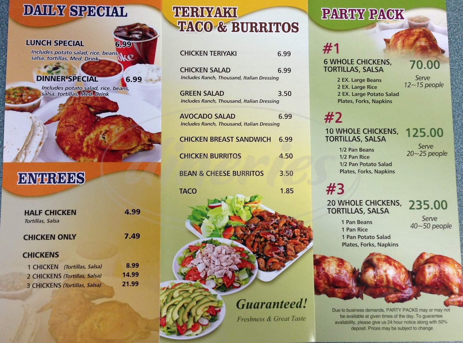 menu for King Pollo