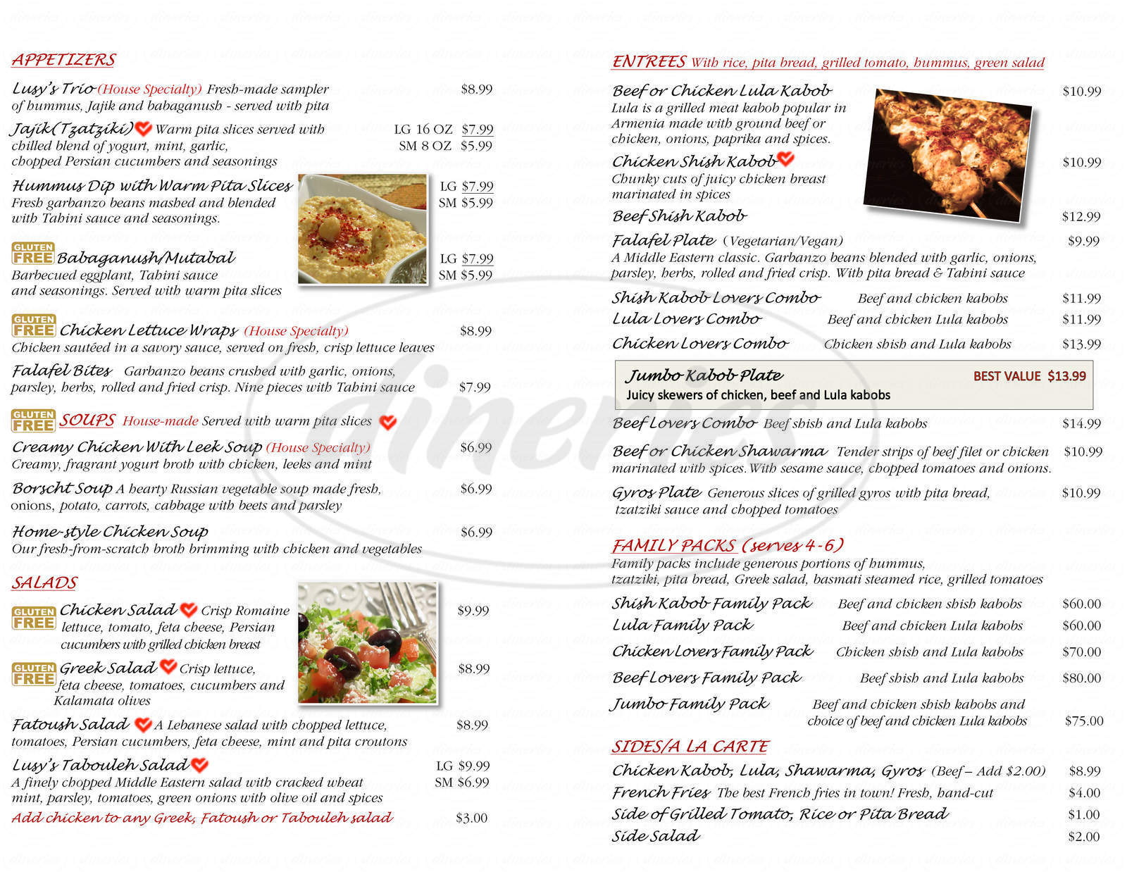 menu for Lusy's Mediterranean Cafe and Grill