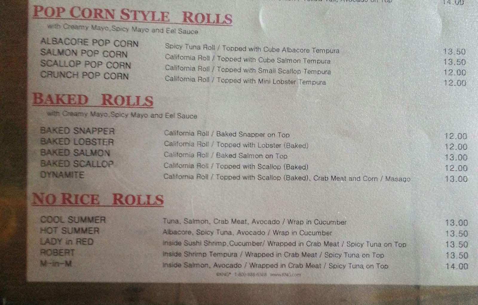 menu for Sushi Ozekii
