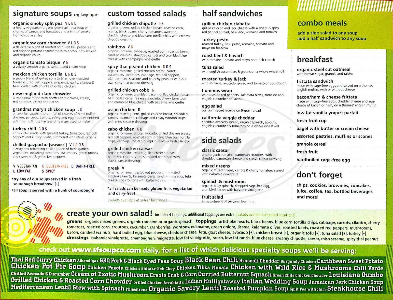 menu for San Francisco Soup Company