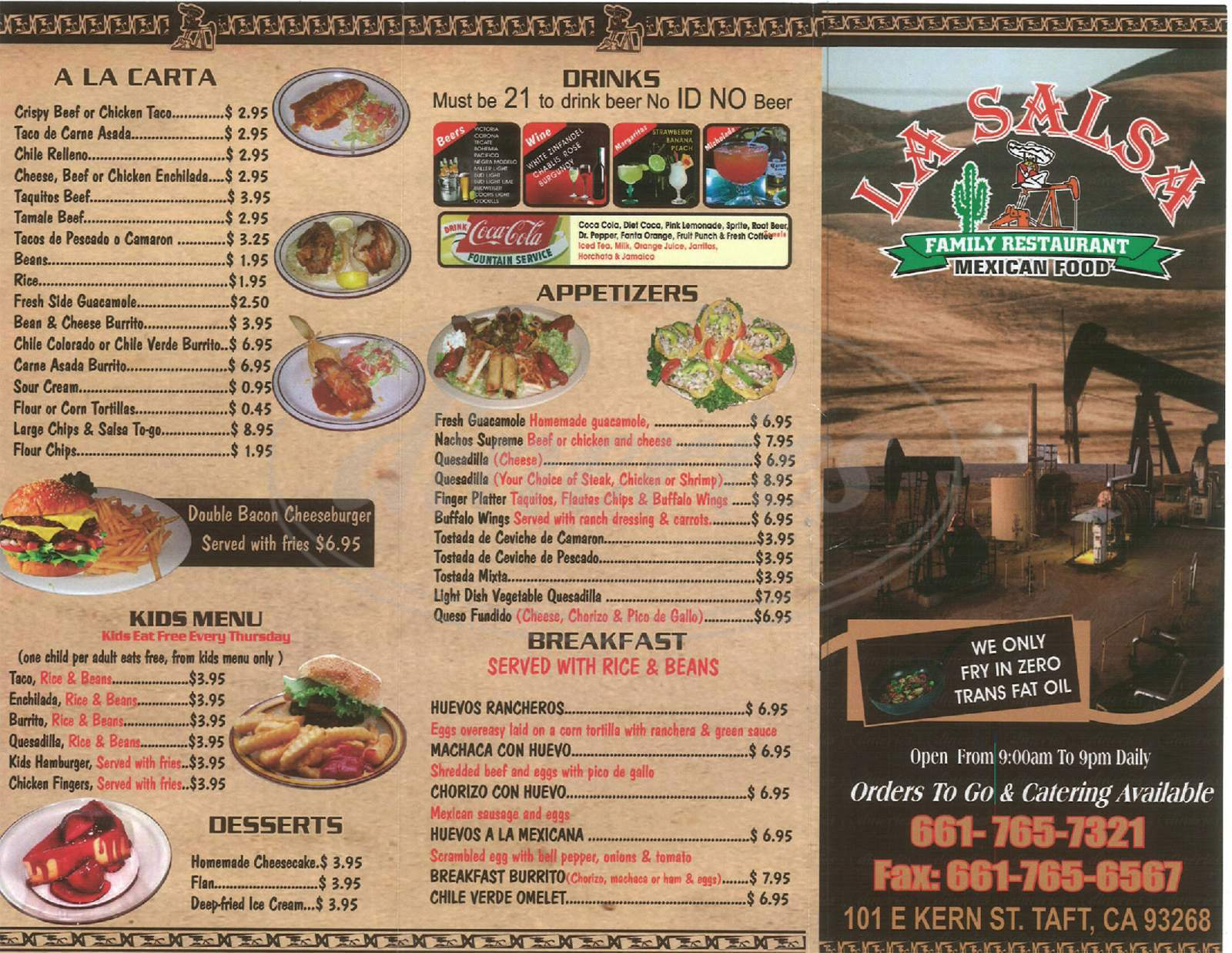 menu for La Salsa Fresh Grill