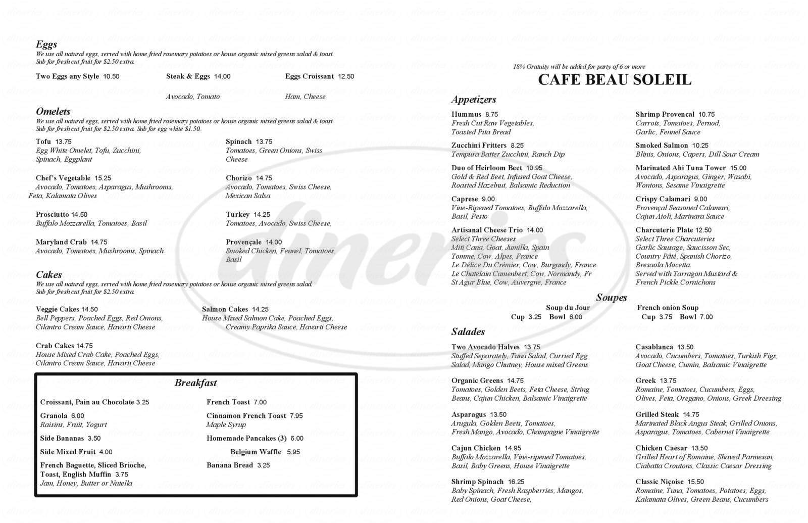 menu for Cafe Beau Soleil