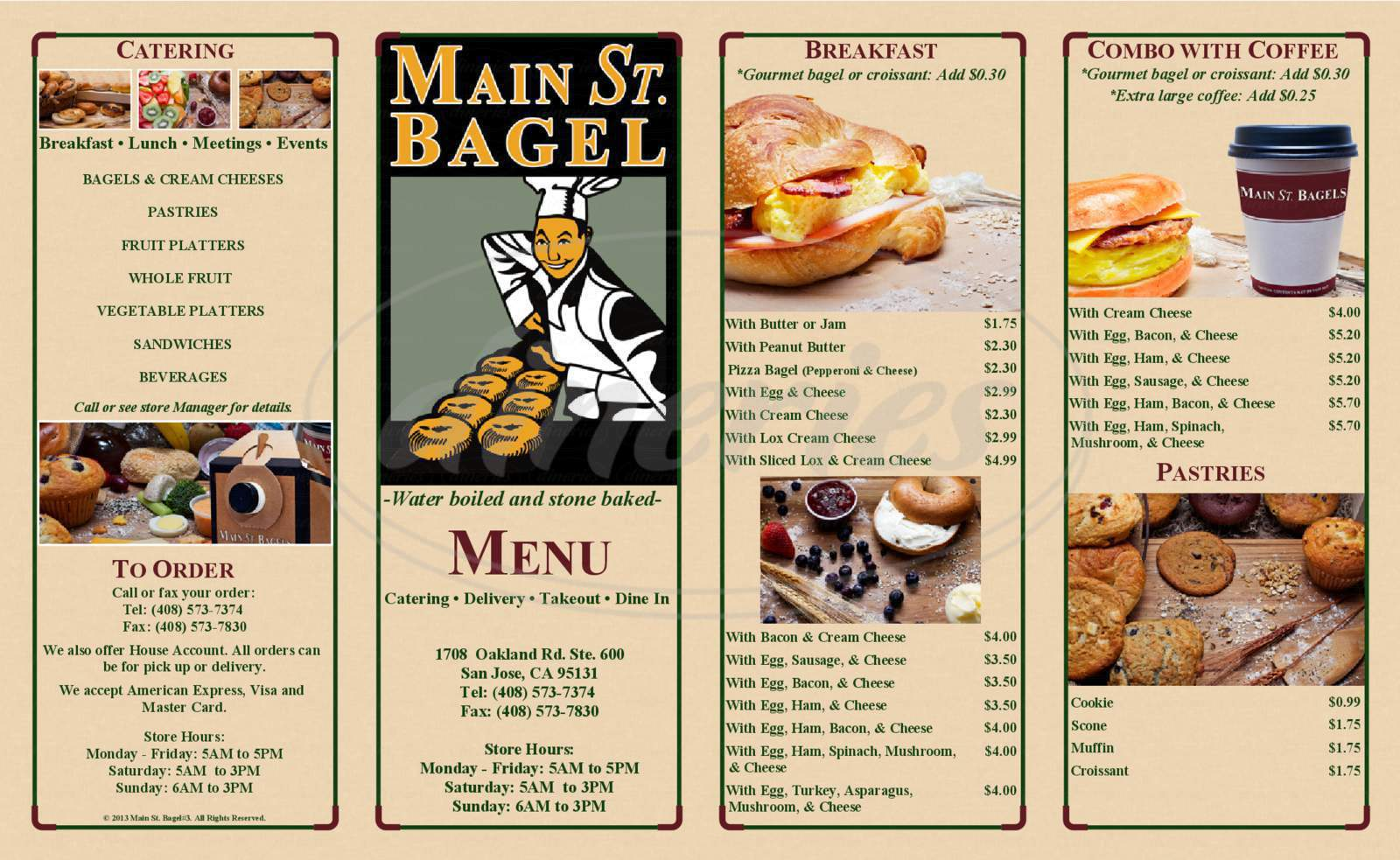 menu for Main St. Bagel