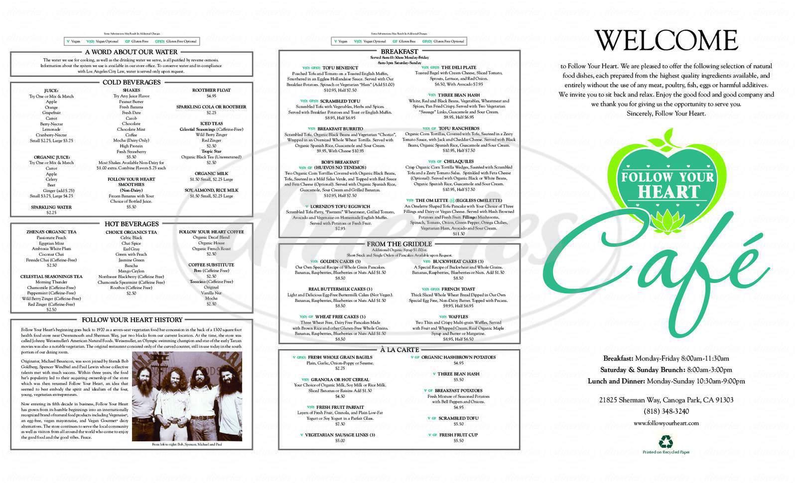 menu for Follow Your Heart Café