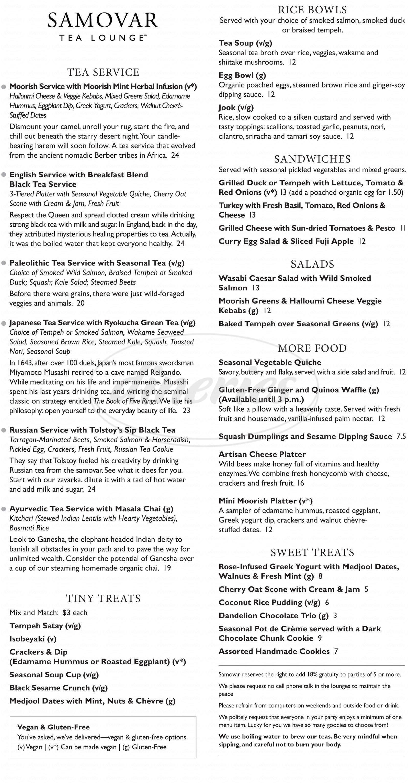 menu for Samovar Tea Lounge