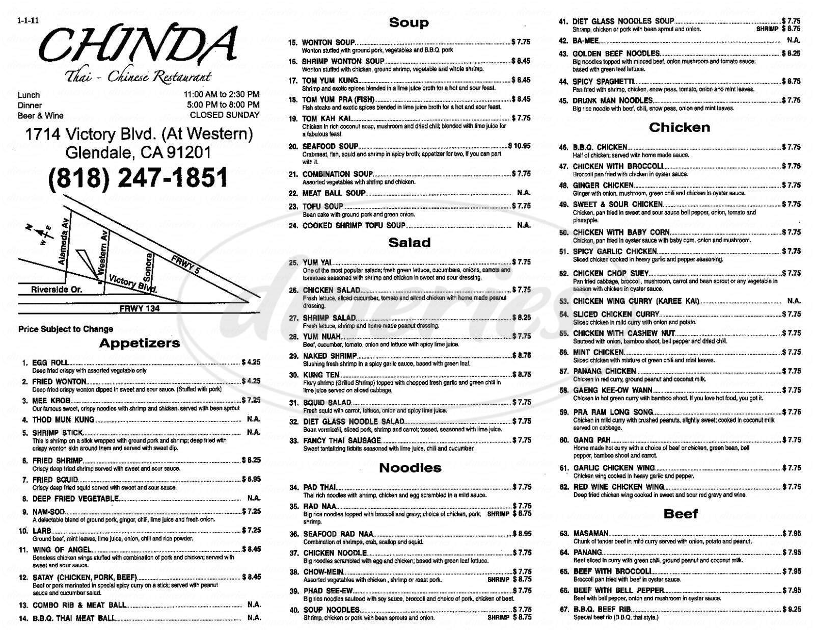 menu for Chinda